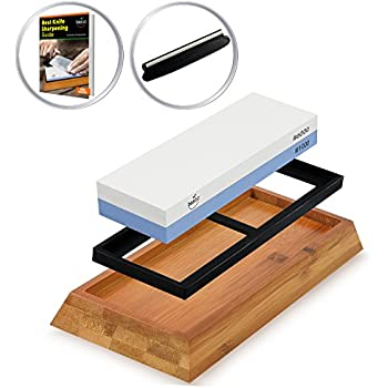 Basic Item Knife Sharpener Stone Kit | Two Sided 1000/6000 | Premium Quality Sharpening Whetstone | Japanese Style with Non Slip Bamboo Base & Safety Angle Guide | For All Kind of Knife Blades