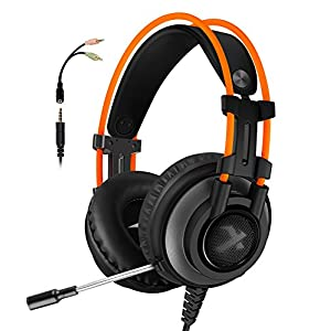 Gaming Headset for PS4 Xbox One, Micolindun Over Ear Gaming Headphones with Mic, Stereo Bass Surround, Noise Reduction for Laptop, PC, Mac, iPad, Smartphones