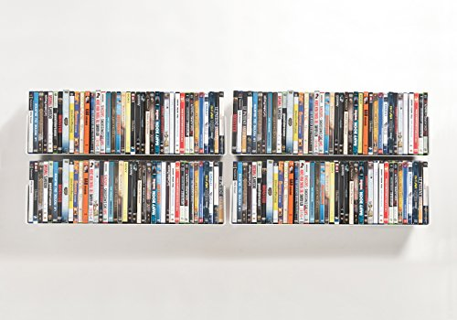 DVD and CD shelves - Set of 4 UCD TEEbooks - Supports up to 224 CDs / 160 DVDs - Grey