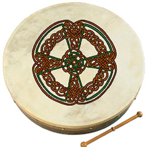 Waltons Bodhrán 8″ (Knotwork Cross) – Handcrafted Irish Instrument – Crisp & Musical Tone – Hardwood Beater Included w/Purchase