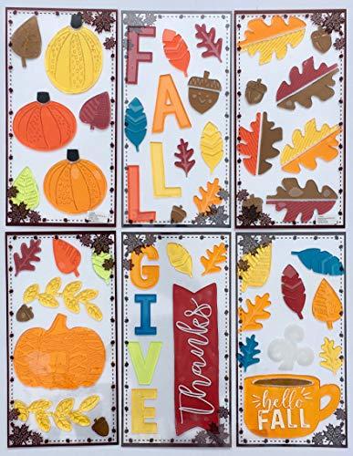 Eastif Fall Window Gel Cling Stickers, 6 Sheets! Pumpkins, Leaves, Acorns, Fall, Thanksgiving … ()