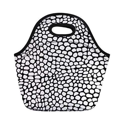- Semtomn Lunch Bags Alligator Black Snakeskin Reptile Pattern Abstract Animal Artificial Chameleon Neoprene Lunch Bag Lunchbox Tote Bag Portable Picnic Bag Cooler Bag