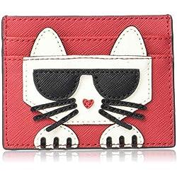 Karl Lagerfeld Paris Peeking Kitty Card CASE, Crimson/Black