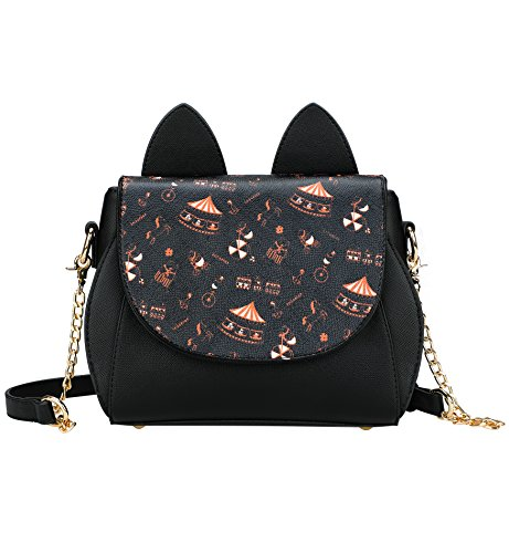 Tom Clovers Womens Girls Cute Cat Ears Cartoon Patterns Small PU Leather Handbag Cross Body Shoulder Bag Sling ()