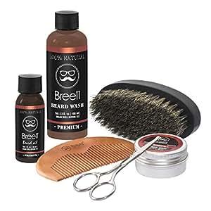 Aceites Cuidado de Barba Kit 6pcs Breett Aceite para Barba, Bálsamo Barba, Barba Champú, Peine para Barba,Juego de regalo perfecto para hombres