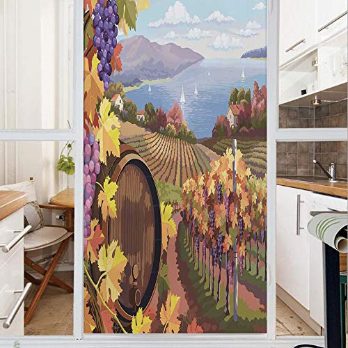 Decorative Window Film,No Glue Frosted Privacy Film,Stained Glass Door Film,Countryside Landscape in Vineyard Agriculture Winemaking Season Grapes in Farm Art Print,for Home & Office,23.6In. by 78.7In