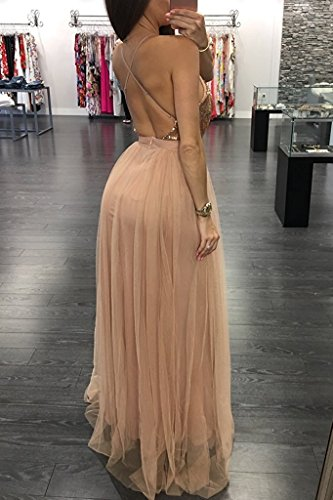 Party with Dresses DreHouse Women's Sequins Gowns Champagne Prom Spaghetti Slit Straps Tulle Long xqvq86Ug