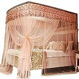 U-Type Retractable Bracket Mosquito net Double Bed Mosquito net Princess Mosquito net Three Door Thick Yarn Thickening Mosquito net Luxury Mosquito net, Pink, L (87-210Adjustment) W150cm