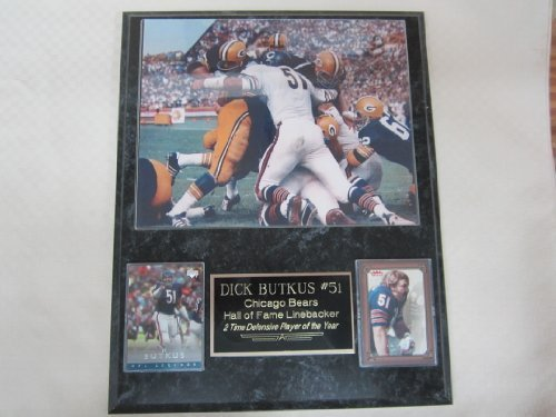 Dick Butkus Chicago Bears vs Green Bay Packers 2 Card Collector Plaque w/8x10 Vintage Photo ()