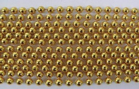 (SMJAITD 33 inch 07mm Round Metallic Gold Mardi Gras Beads - 6 Dozen (72 Necklaces))