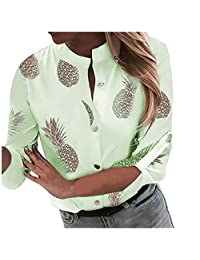 SNOWSONG Women's Elegant Floral Printed Henley V Neck Button up Workwear Blouse Top Shirts