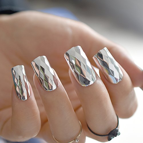 Amazon.com : 3D Metal Mirror Silver False Nails Rhombus Metallic Punk Style Square Fake Acrylic Nail Tips Diy Salon Art Bride Party Z785 : Beauty