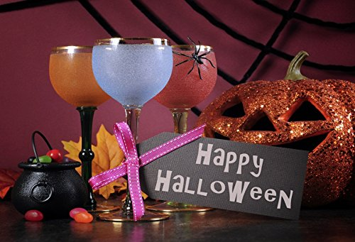 Laeacco 10x6.5ft Photography Backdrop Happy Halloween Ghoulish Party Cocktail Drinks Vinyl Photo Background Fun Skittish Autumn Holiday Party Pumpkin Ceremony Decoration Photo Backdrops