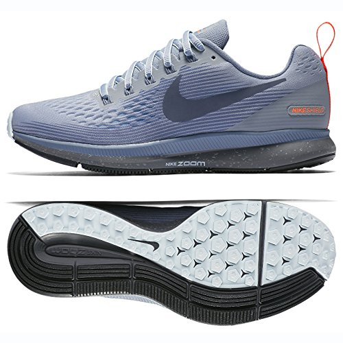 timeless design c1fd3 94d8e Galleon - NIKE W Air Zoom Pegasus 34 Shield 907328-002 Wolf Grey Thunder  Blue Women s Running Shoes (8)