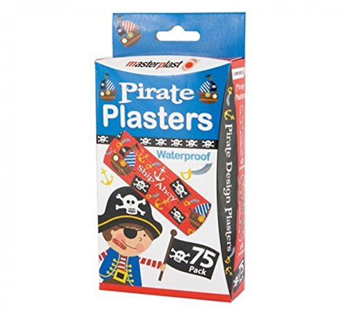 PACK OF 75 PIRATE WATER PROOF PLASTERS IDEAL FOR FIRST AID KITS GLOBAL