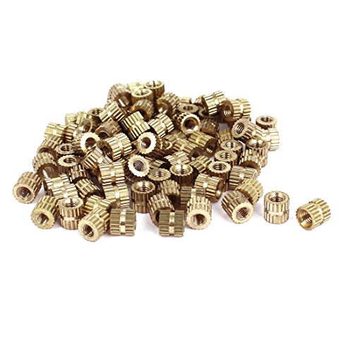 uxcell M2x3mmx3.5mm Female Threaded Brass Knurled Insert Embedded Nuts 20pcs