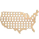 USA Beer Cap Map - Beer cap holder for 70 Bottle caps made from quality birch plywood with pre-drilled holes to mount on the wall - Cool Present for Beer Lovers