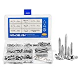 """NINDEJIN 242Pcs 304 Stainless Steel Flat Head Self Tapping Screw Phillips Wood Screws Assortment Kit Set with Cross-Head Batch,Size:M3.5, Length 1/2"""" to 1-1/2"""""""
