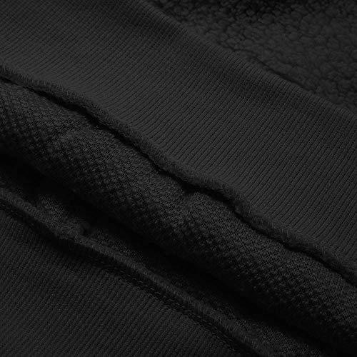 Maniche Lunghe Caldo Nero Di Hoodies Imitazione Girocollo Byste Sweatshirt Peluche Mantieni Donna Da Solido Felpa Maglione Agnello Pullover Maglietta w6gfOAq