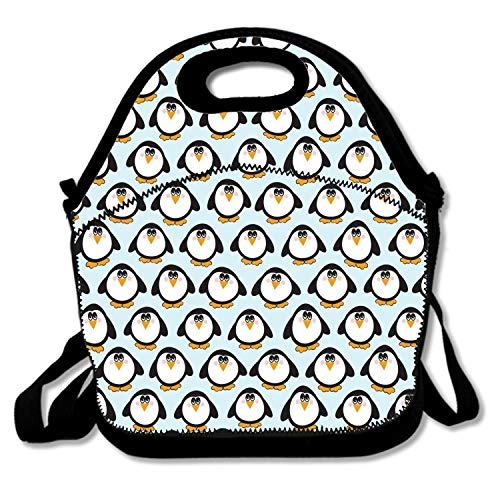Personalized Lunch Bags For Women Insulated Fashionable With Shoulder Strap Lunchbox Container For Adults,Kids,Girls,Boys (Cute Whimsical Penguin Owl Illustration)