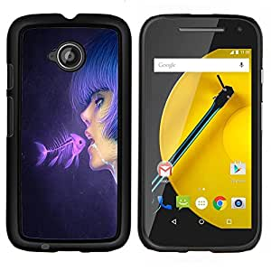 LECELL--Funda protectora / Cubierta / Piel For Motorola Moto E2 E2nd Gen -- Fish & Pink Chica --