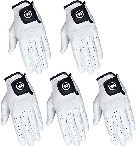 Pack of 5 Men White Cabretta Leather Golf Gloves Both Right and Left Hands (Med-Large, Left)