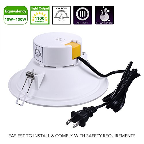 6'' LED Recessed Light with J-Box Adjustable Color Temp 10W Non-Dimmable LED Downlight for 100W Replacement, 1100 Lumens, 3000K/4000K/5000K, AC Power Plug, IC-Rated and Air Tight - Pack of 4 by Miady (Image #1)