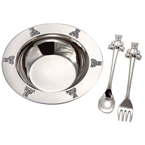 (1 X Silverplated Baby Bear Bowl, Spoon, Fork Set by Elegance Silver)