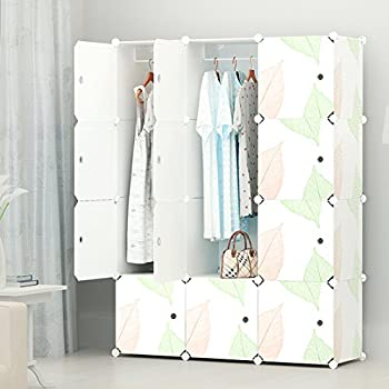 Portable Clothes Closet Modular Wardrobe by KOUSI-Freestanding Storage Organizer with doors  large space and sturdy construction. White-12 cube
