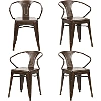 Fancyhouse Metal Chairs With Arms Tolix Style Indoor-Outdoor Kitchen Dining Chairs Stackable Trattoria Bistro Cafe Side Chairs(Set of 4)