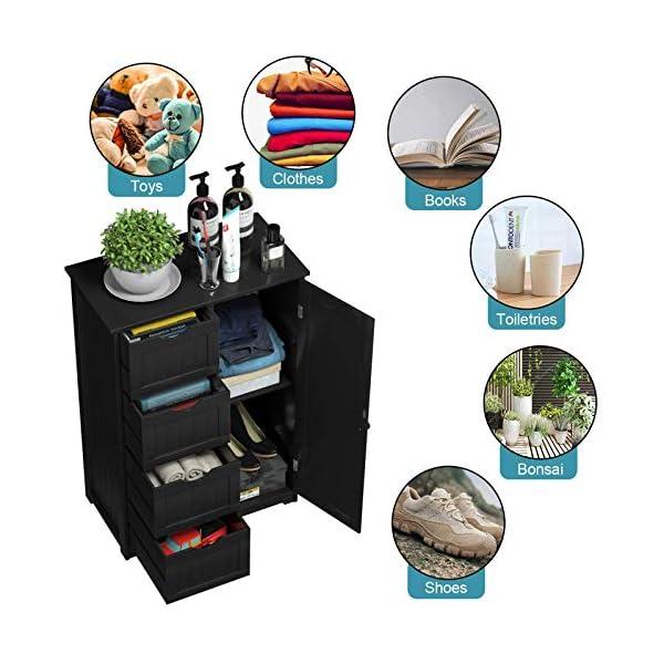 Giantex Bathroom Floor Cabinet Wooden with 1 Door & 4 Drawer, Free Standing Wooden Entryway Cupboard Spacesaver Cabinet…