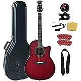 Ovation Custom Legend AX C2079AX-CCB Acoustic-Electric Guitar Bundle With Hard Case, Cherry Burst