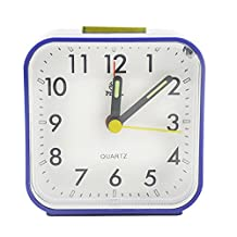 Kaimao Non Ticking Analog Alarm Clock with Nightlight and Snooze, Small Desk Clocks AA Battery Powered, Blue