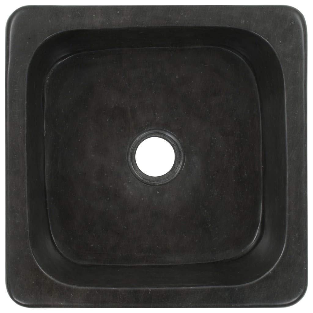 vidaXL Lavabo de Piedra de R/ío Negro Sanitario Ba/ño Servicio Hogar 30x30x15 cm Piedra Natural