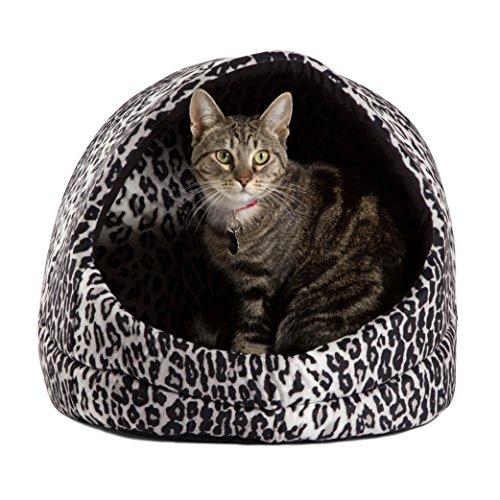 Doggy/Kitty Hut Bed, Black Leopard Print