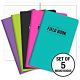 Field Notebook - 5''x8'' - Assorted Colors - Lined Memo Book - Pack of 5