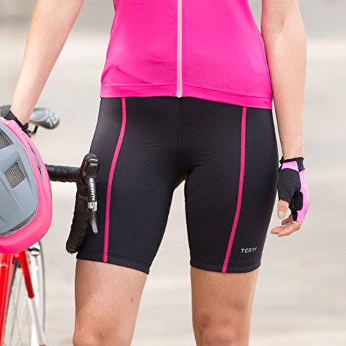 Terry Bicycle Bella Cycling 8.5 inch Shorts for Women - Bicycling Magazine Editor's Choice - Black/Pink - Medium ()
