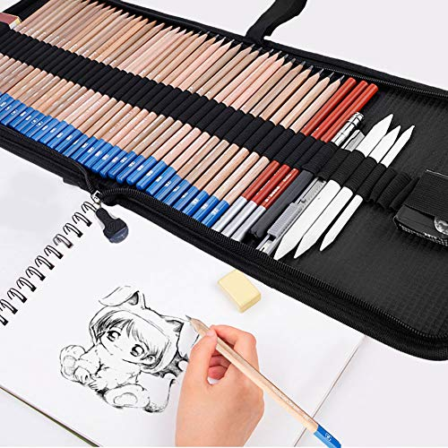 48 Pieces Drawing Sketch Pencils Set, Full Draw Sketching Kit with Charcoal Pencil, Graphite Pencils, Pencil Knife, Eraser, White Paper Brush, Pencil Extender, Drawing Art Supply Set Ideal for Beginn by Yosooo