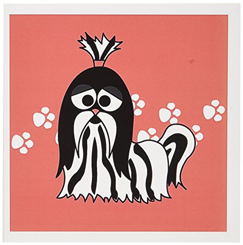 3dRose Black and White Shih Tzu with Paw Prints - Greeting Cards, 6 x 6 inches, set of 12 (gc_6143_2) (Paw Prints Shih Tzu)