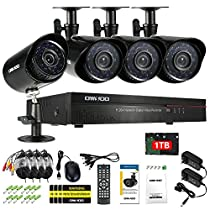 OWSOO 1TB 4CH Channel Full 960H/D1 800TVL CCTV Surveillance DVR Security System HDMI P2P Cloud Network Digital Video Recorder&4 Outdoor/Indoor Infrared Bullet Camera&460ft Cable support IR-CUT
