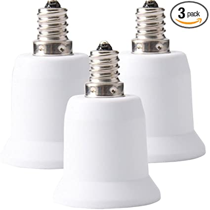 Jackyled 3 pack e12 to e26 e27 adapter chandelier light socket e12 jackyled 3 pack e12 to e26 e27 adapter chandelier light socket e12 to medium socket mozeypictures Images