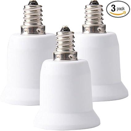 JACKYLED 3-Pack E12 to E26 E27 Adapter Chandelier Light Socket E12 ...