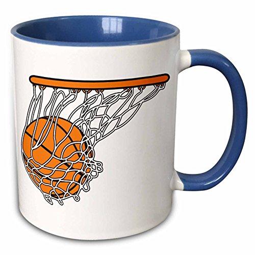 - 3dRose 116287_6 Basketball Woosh Ball In Net Vector Illustration Sports Design Two Tone Blue Mug, 11 oz, White