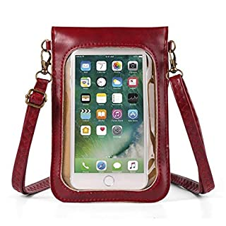 Cute Touch Screen Floral Faux Leather Crossbody Bag for Women Travel Small Shoulder Phone Purse Wallet for Samsung Galaxy S10 S9+ S8+ Note9 Note8 A7 A8 / iPhone Xs Max/BlackBerry/Nokia (Red)
