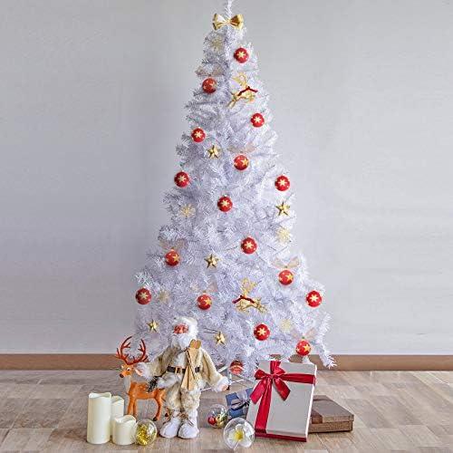 Kranich Albero di Natale Artificiale in PVC Bianco, 2,1 m – 1000 Rami, con Lampada in Filo di Rame 25M 500 LED e Staffa in Metallo Solido, Adatto per Interni ed Esterni