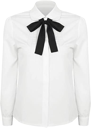 TiaoBug Blusa Blanca de Manga Larga Mujer Camisa Básica con Bowknot Tops Blusa Formal de Negocio Trabajo Uniforme Escolar Camisa Niñas Infántil: Amazon.es: Ropa y accesorios