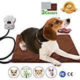 "Nuoyo Dog Heating Pad - 7-Level Controller DC12V Safe Electric Dog Cat Heating Blanket Waterproof Pet Warming Mat 15.7""11.8""(New Square)(2 Removable Covers)"