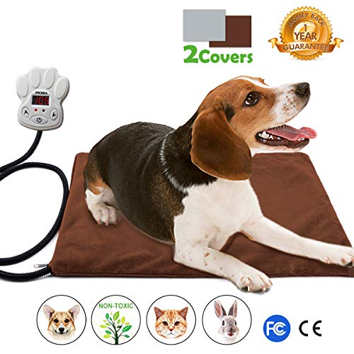 Nuoyo Dog Heating Pad, 7-Level Controller DC12V Safe Electric Dog Cat Heating Blanket Waterproof Pet Warming Mat 15.7