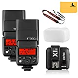 GODOX TT350S 2X Mini Flash TTL HSS 1 / 8000s 2.4G wireless with X1T-S Flash Trigger Transmitter for Sony Mirrorless Camera Cameras a7R a58 a99 ILCE6000L a77II RX10