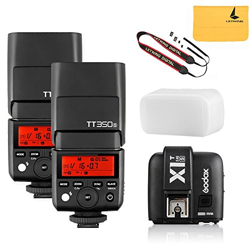 GODOX TT350S 2X Mini Flash TTL HSS 1 / 8000s 2.4G wireless with X1T-S Flash Trigger Transmitter for Sony Mirrorless Camera Cameras a7R a58 a99 ILCE6000L a77II RX10 by LETWING